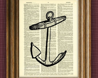 Ship's ANCHOR illustration beautifully upcycled dictionary page book art print