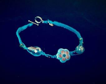 Flower hemp string ankle bracelet