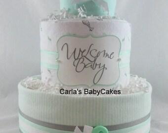 Neutral diaper cake | Baby diaper cake | Baby shower gift | Baby shower decoration | New mom gift | Baby sprinkle gift | Baby gift ideas