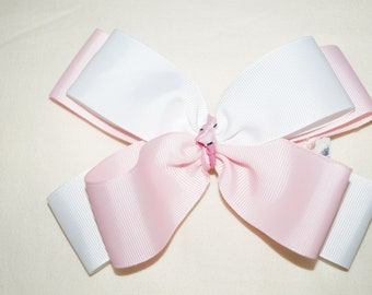 "A Beautiful Handmade 6"" White and Pink Hair Bow"