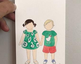 Twin mini watercolor
