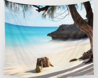 Beach Tapestry, Nautical Tapestry, Coastal Large Wall Decor, Surf Photo Tapestry, Aqua Blue, Nature Tapestry, Sea Water, Dorm, Tree, Rock