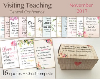 November 2017 Visiting Teaching Message, lds Printable, October 2017 General Conference, Quotes LDS, VT LDS handouts, chest template