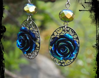 Oil Slick Rose Drop Earrings -Ready to Ship - Gothic Iridescent Vampire Victorian Surgical Steel