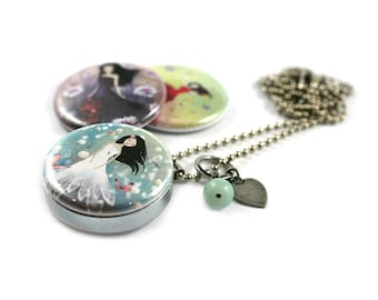 La Vie est Belle Locket Necklace - 3 in 1 - Personalized / Recycled - Interchangeable Magnetic Lids - TheNebulousKingdom X Polarity