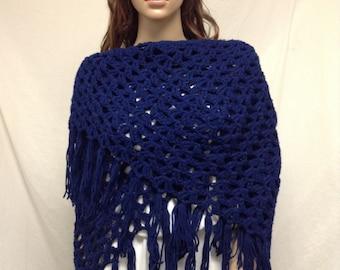 Blue Knit Shawl ,knit Wrap, Fringed,Large