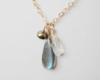 Labradorite gemstone cluster necklace