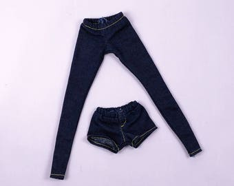 F025 Doll Clothes Denim Jeans Pants Legging Shorts For Barbie Poppy Parker Nu Face Momoko