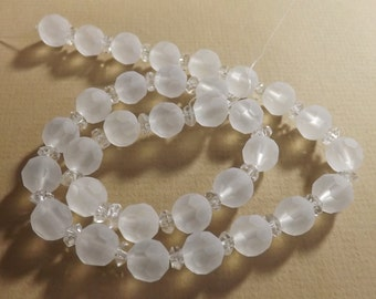 Faceted Frosted Glass, 10 mm Faceted Beads, Jewelry Making Supplies, 10mm Strand, Approx. 32 beads,