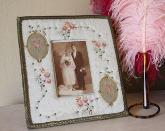 Antique French Silk Ribbon Roses Picture Frame
