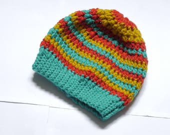 Crochet wool hat, stripes beanie, hat for kids, winter hat