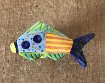 Fish Knob, Fish Drawer Pull, Colorful Fish Knob, Ceramic Fish Knob, Kitchen Cabinet Knob, Furniture Knob, Nautical Knob, Beach House Decor