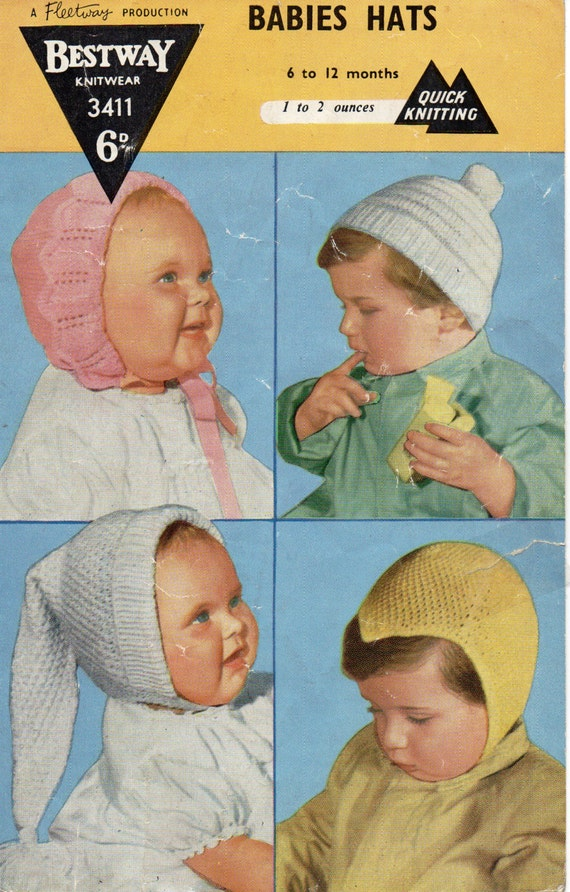 Baby Hats Knitting Pattern Pdf Vintage 1950s Baby Hats Bonnets