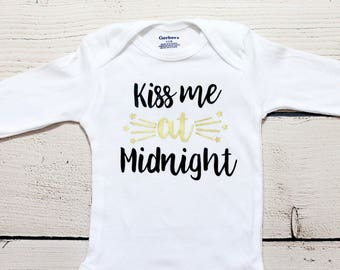Kiss me at midnight onesie |  New Years onesie, baby boy, funny onesie, first New Years, kiss me at midnight, New Years, toddlers shirt
