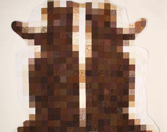 Hereford Cowhide Quilt - original hand made quilt or wall hanging - spotted brown and white cow hide
