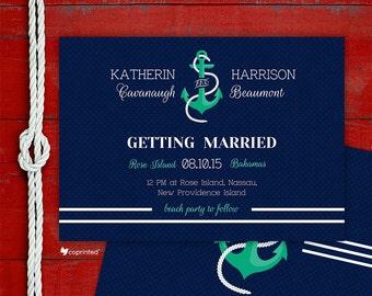 Nautical Wedding Wedding Invitation - seaside, wedding, nautics, anchor, rope, calligraphy, beach, nautical, modern, template