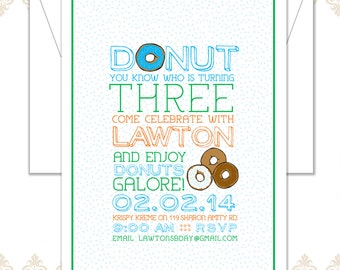 Donut Birthday Party Invite - Donut Party - Fourth Birthday Invite - Modern Donut Birthday - Donuts Celebration - Sprinkles Donut Invite