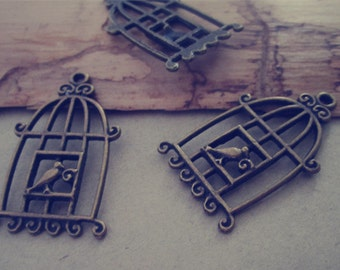 10pcs Antique bronze birdcage Pendant charm 20mmx34mm