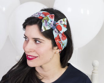 Wide headband – Cotton head wrap – Floral pinup head scarf – 50s headband – Vintage headband - Turban headband - Reversible headband