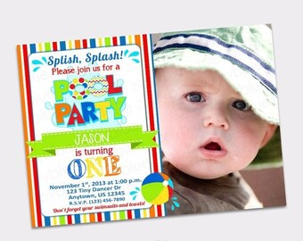 JUNE SALE Pool Party Birthday Invitation with Picture Printable- 1st First Birthday- Colorful Zig Zag Chevron- Digital File