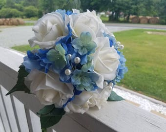 True Touch Blue Hydrangeas and White Roses and Glass Pearls Bridal or Bridesmaid Bouquet