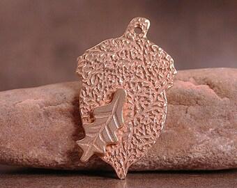 Bronze Metal Clay Pendant, Acorn Charm, Oak Leaf Bronze Pendant, Divine Spark Designs, SRA