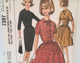 vintage McCall's 7397 pattern, misses junior dress size 9-11, bust 30.5-31.5, 1964, 1960s dress fashion