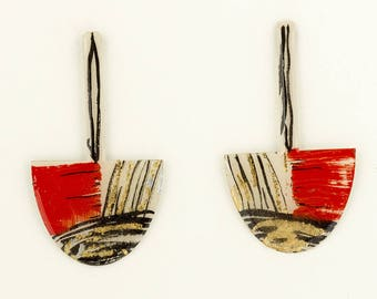 Pendant earrings red, black and gold