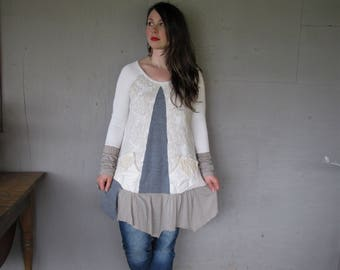 upcycled clothing recycled sweater tunic dress Bohemian Eco Wearable Art X large Lagenlook Boho  Repurposed Fun Clothes LillieNoraDryGoods