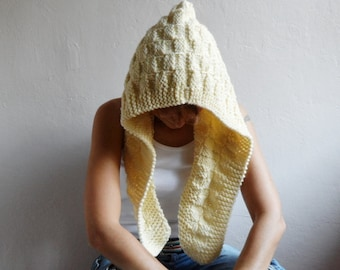 Knit Hood, Hooded Scarf, Chunky Wool Hood, Hooded Cowl, Cream Hood, Winter Accessories, Gift for her