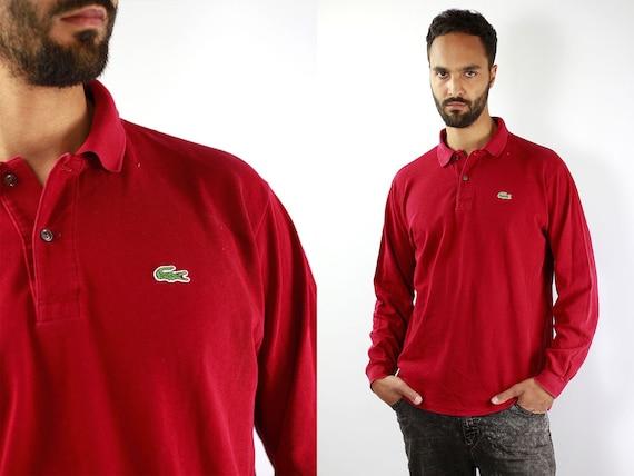 LACOSTE Poloshirt Lacoste Longsleeve Lacoste Red Poloshirt Lacoste Vintage T Shirt Lacoste  T-Shirt Red  Lacoste Shirt Medium Poloshirt