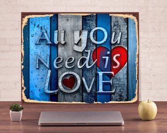 All you need is love, A sign of love, Sign, Custom signs, Metal Signs, House warming gift, Custom metal sign, Personalized Metal