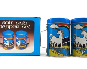 Vintage 1980's Unicorn and Rainbow Salt and Pepper Shaker Set