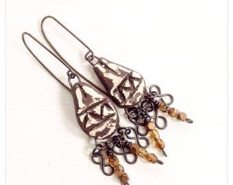 Tribal earrings - ceramic charm earrings - rustic earrings