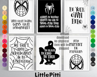 Superman nursery, set of 6 prints, boys kids room decor, black white nursery, spider-man, kids quote art, modern nursery art, playroom decor