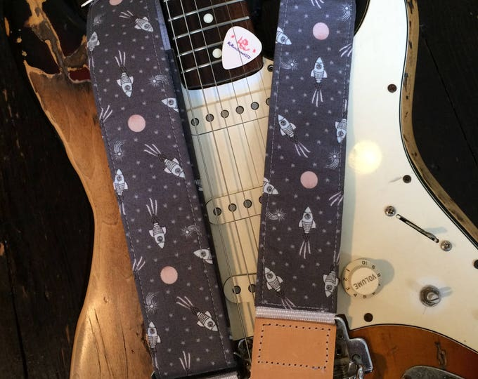 Rocket guitar strap // retro space ships out-of-this-world UFO // grey star field // guitarist gift // retro space gift for him or her