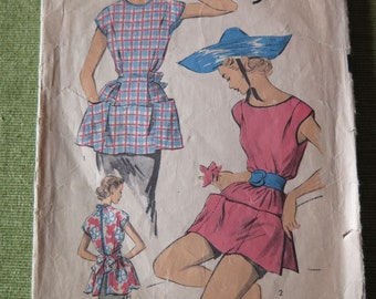 Vintage 1950s ADVANCE 5998 Misses Cobler Apron or PONCHO Sewing Pattern sz Small 10-12