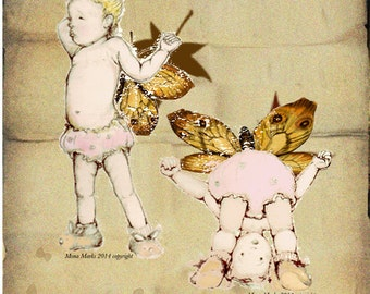 Pretty Baby Fairy Digital Download - PNG JPEG Instant Download - Baby ButterflyFairy Drawing - Raggandbone Illustration