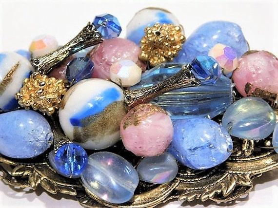 Miriam Haskell Style Art Glass Brooch