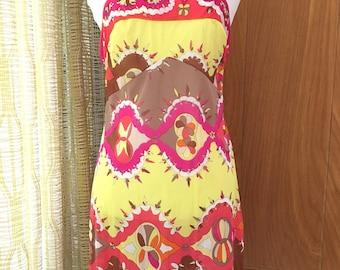 Vintage 60s EMILIO PUCCI for Formfit Rogers Print Nightgown Slip Mini Dress