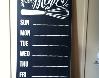 """Wood sign 'This Week's Menu' 12"""" x 24"""" chalkboard sign kitchen menu wall sign chalk kitchen menu board menu planning wall sign"""