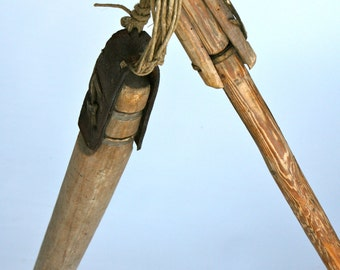 Traditional Italian wooden grain beating agricultural farming tool