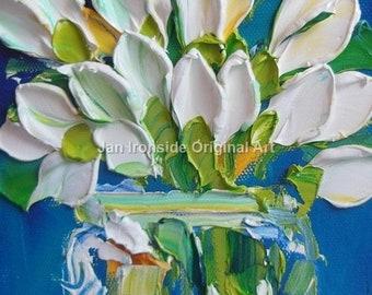 Original Oil Painting, white tulips, Impasto Painting  Canvas wall decor
