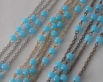 3 Feet  6 mm Blue Glass Bead Chain Jewelry Making Supply . Gold, Silver or Brass Chain