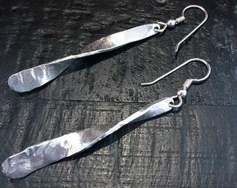 Flat Twist Sterling Silver Earrings