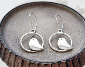 Silver Bird Earrings | Silver Earrings | Woodland Jewelry