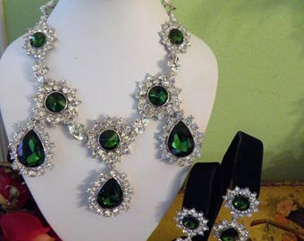 Red Carpet Bling Emerald and Diamond Look Necklace and Earring Set.  Old Hollywood Glamour