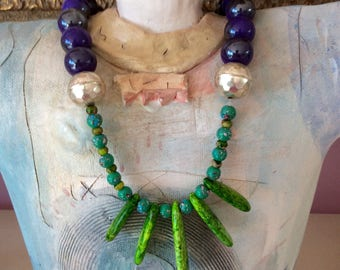 Xmas SALE 50% off most neckl.  Green and purple gemstone, with silver beads. OOAK, wearable art, great gift idea