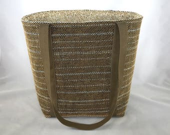 Medium Tote, tan tote, white stripes, handmade tote bag, handwoven, tan and white floral cotton lining, beige polypro straps