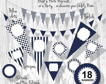 Navy Banner Nautical Party Banner PDF Editable Stripe Polka Dot Pennants 3 Sizes 18 Banners : BA0201 3s2650